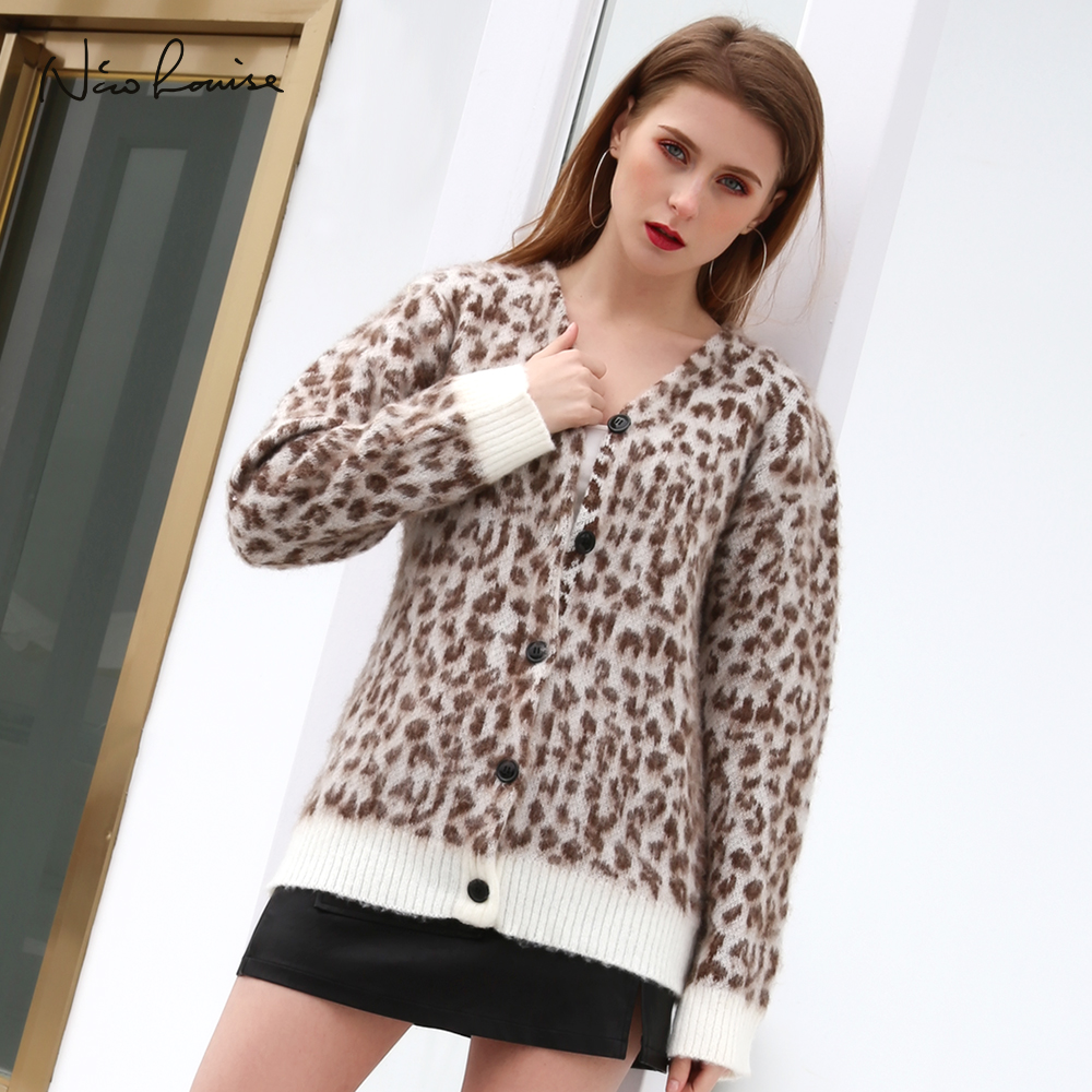 2018 Herbst Winter Frauen Strickjacke Pullover Leopard Print Mode Weibliche Wolle Gestrickte Übergroßen Mantel Langarm Strickwaren Femme Zu Verkaufen