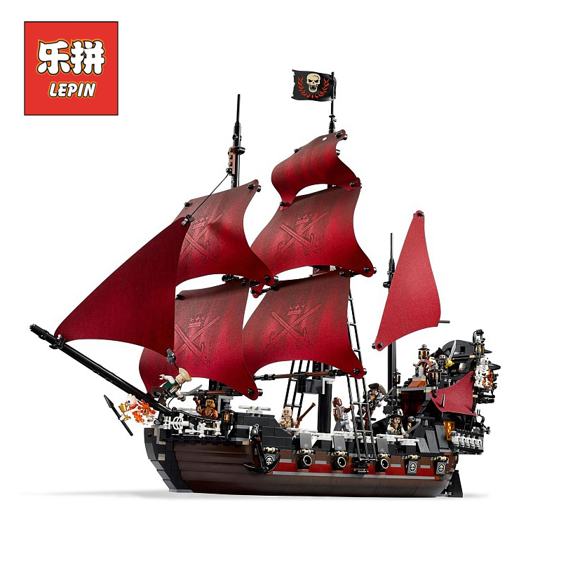 lepin 16009 Movies Series Pirate ship Queen Anne's revenge Pirates of the Caribbean Building Blocks Bricks 4195 Children Toy lepin 16009 caribbean blackbeard queen anne s revenge mini bricks set sale pirates of the building blocks toys for kids gift