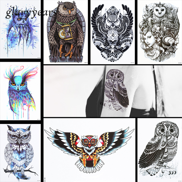 8 pieces owl pattern design tattoo sticker temporary skull clock water transfer women men shoulder body