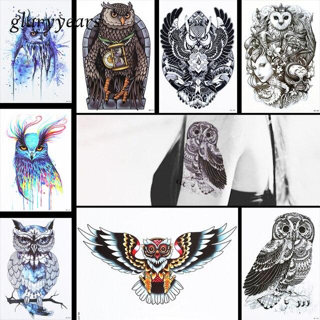 8 Sztuk Sowa Wzór Projektu Tattoo Naklejki Tymczasowe Czaszki Zegar