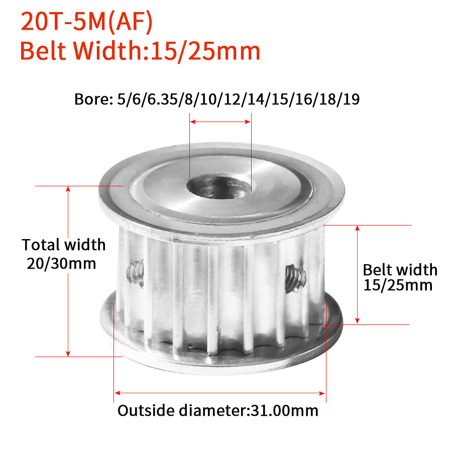 20 Teeth HTD 5M Synchronous Timing Pulley Bore5/6/6.35/8/10/12/14/15/16/18/19mm for Width=15/25mm 5M 20T Keyway Timing Pulley AF20 Teeth HTD 5M Synchronous Timing Pulley Bore5/6/6.35/8/10/12/14/15/16/18/19mm for Width=15/25mm 5M 20T Keyway Timing Pulley AF