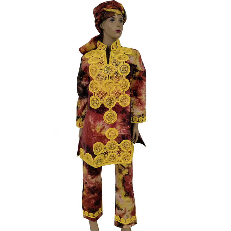 Image 2 - MD African Women Shirt Pants Suit South Africa Ladies Tops Trousers Sets With Scarf Traditional Embroidery Dashiki ClothingAfrica Clothing   -