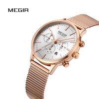 MEGIR Women Watch Luxury Fashion Quartz Chronograph Auto Date Top Brand Stainless Sport Waterproof Gold Reloj Mujer Ladies Gift