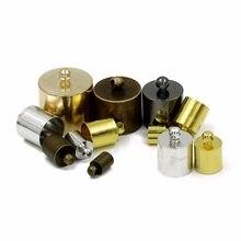 50 adet/grup antik bronz rodyum uç kapakları kolye bilezik klipsler Fit 6.5/7.5/9.5/10/11/13/15mm deri kabloları konnektörleri