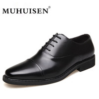 MUHUISEN Hot Sale Men Dress Shoes Spring Autumn Genuine Leather Business Oxford Shoes Lace Up Fashion