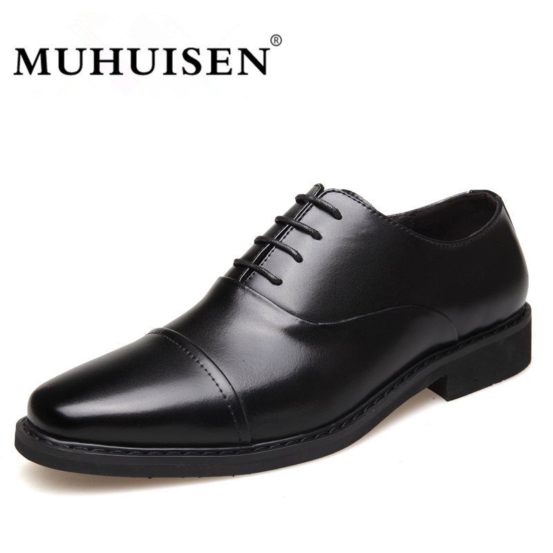 MUHUISEN Hot Sale Men Dress Shoes Spring Autumn Genuine Leather Business Oxford Shoes Lace-Up Fashion Male Wedding Flats S