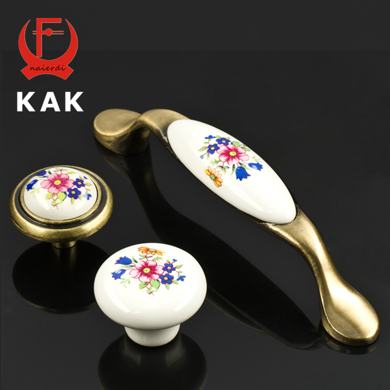 KAK Bronze Ceramic Drawer Knobs Rural Cabinet Cupboard handles Vintage Fashion Furniture Handles drawer Knobs singe hole 96mm