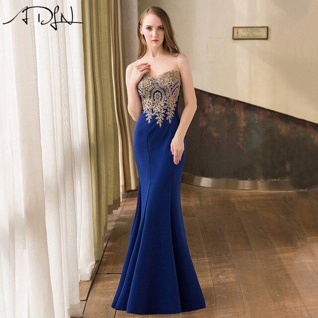 Adln 2017 en stock sirène robes de soirée longue formelle bleu royal partie  robes maille couverte