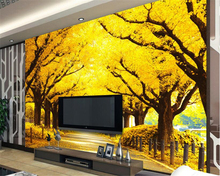 beibehang Home decoration painting senior wallpaper full of gold and yellow landscape TV background wall papel de parede tapety