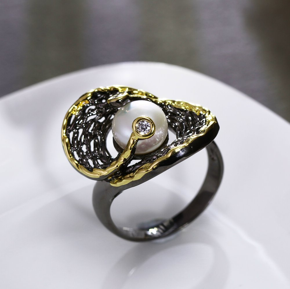 New Release Fresh Water Pearl Ring Black Goldcolor Ethnic Style Wonderful  Accessories For Women Flash Sale!