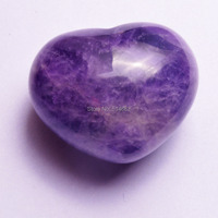 30mm Natural Amethyst Crystal Puff Heart Worry Healing Stone W1317