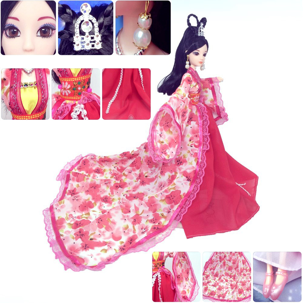 1 Set 30cm Chinese Traditional Fairy Maiden Princess Doll Long Dress and Jewelry Girl Birthday Christmas