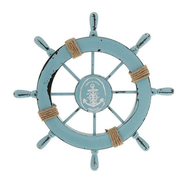 Mediterrane Accessoires 28 cm houten mediterrane stijl boot roer timoneer accessoire home
