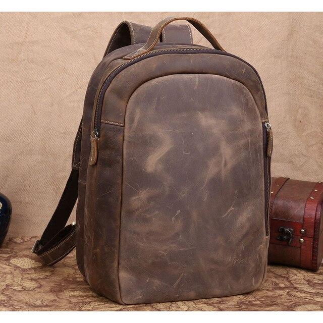6aee3d44f480 Top Genuine Leather 14   Laptop Backpack Casual Rucksack Daypack Boy School  Bag Book Bag Travel Weekend Bag Brown Shoulder Bags