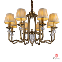 Classical Chandelier Traditional America Copper Brass Pendant Lamp Europe Antique Lighting Fixture LED Foyer Lobby Living Room