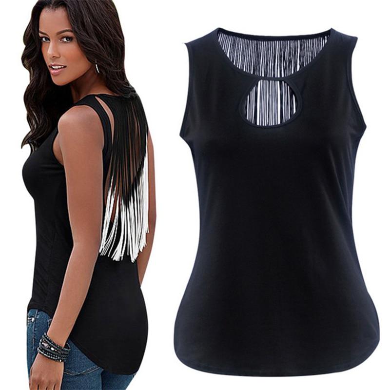 Fashion Casual Sleeveless T-shirt Bodycon Women's Sexy Crew Neck Gradient Color Tassels Irregular Style