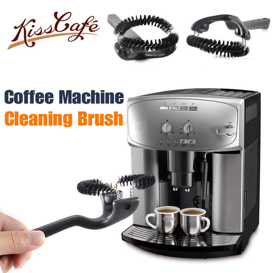 25x7.8x5.1cm półautomatyczny ekspres do kawy szczotka do czyszczenia Grouphead długi uchwyt okrągłe szczotki młynek do kawy akcesoria do czyszczenia
