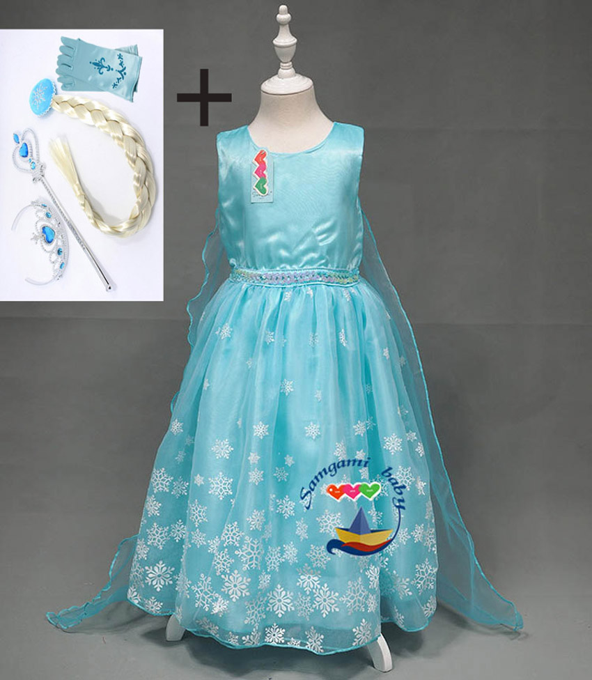 Girl Baby Girls Elsa Anna Party Dresses Kids Ice Princess Dress Children Clothing Christmas Xmas Gift Cospaly crochet Costume
