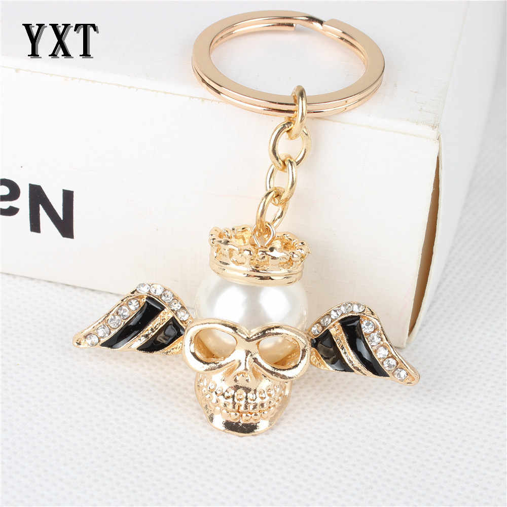 ווג גדול פרל מלאך אגף גולגולת חדש חמוד קריסטל קסם תליון ארנק תיק רכב מפתח טבעת שרשרת המפלגה Creative מתנה