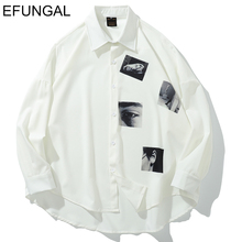 Мужская рубашка с 3d принтом EFUNGAL, повседневная Однотонная рубашка в стиле Харадзюку С Длинным Рукавом, 2019