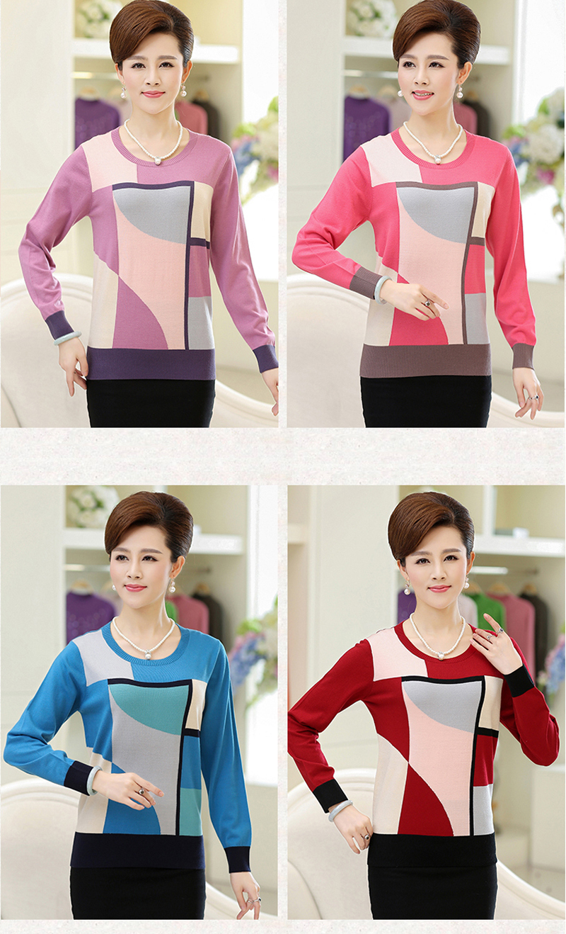 2018 Spring Autumn Loose Geometric Print Sweater Women Casual Knitted Long Sleeve Sweater Plus Size Pullovers Sweater YP1061 7