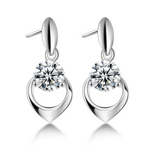 New Fashion – cubic zircon pure silver earrings 925 pure silver drop earring heart earrings Women 247