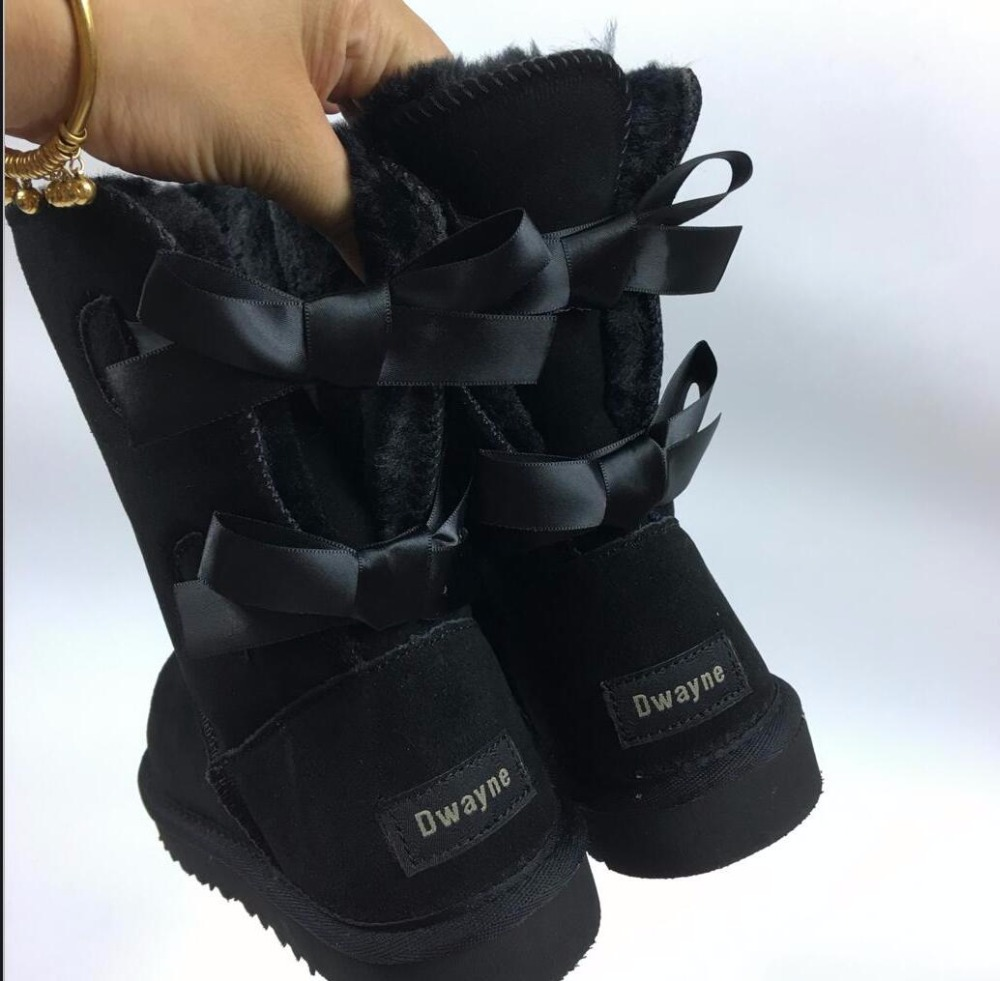 HOT Brand Australia Style Two Bowknots Short Botas High Quality Women Winter Warm Genuine Leather Bows Snow Boots 34-44