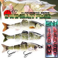 Crazy Fish 1x Fishing Plastic Artificial Lure Sinking Swim Bait Jointed Lure Bass Pike Trout Crankbait