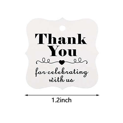 8d6357abc9d7 100pcs Thank You for Celebrating with Us paper tags for baby shower party  favors gift tags personalized wedding gifts for guests