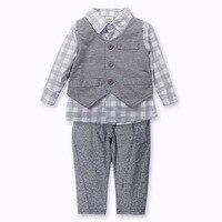 Conjunto de Roupas Menino Da Criança Do Bebê recém-nascido Com Chapéu Jaqueta de Inverno Terno Meninos Cavalheiro Mangas Curtas Shirt + Pant Long/Popular CL0717