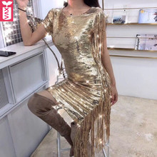 Custom Trend Culb Gold Shiny Bling Bling Slim Sequins Party Sheath Dress  Women Noble Side Tassel eac5a092b