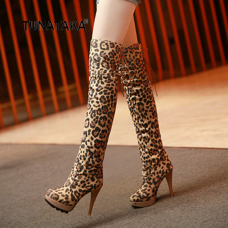 Winter Women Platform Super Sexy Thin High Heel Leopard Thigh Boots Fashion Cross Tied Over The Knee Boots Black Brown jialuowei women sexy fashion shoes lace up knee high thin high heel platform thigh high boots pointed stiletto zip leather boots