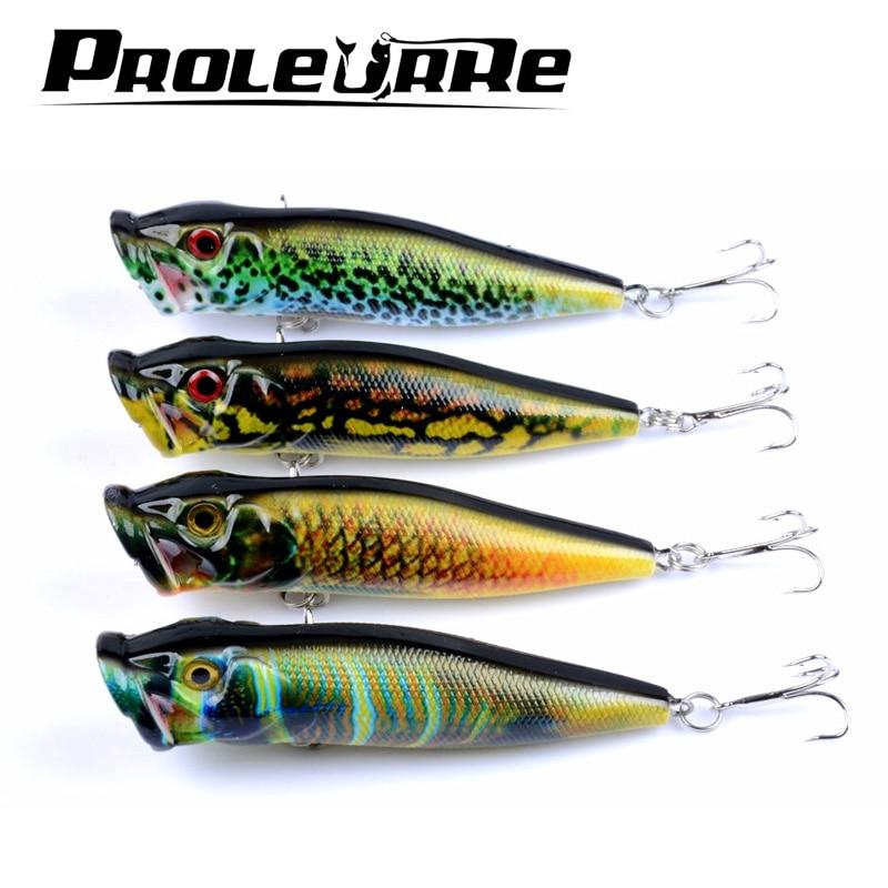 1db 9.5cm 12g Horgász csalik 4 szín Popper csali horgász csalétek 6 # magas 3d szem Szemek Crankbait csavargók horgászfelszerelés YR-413