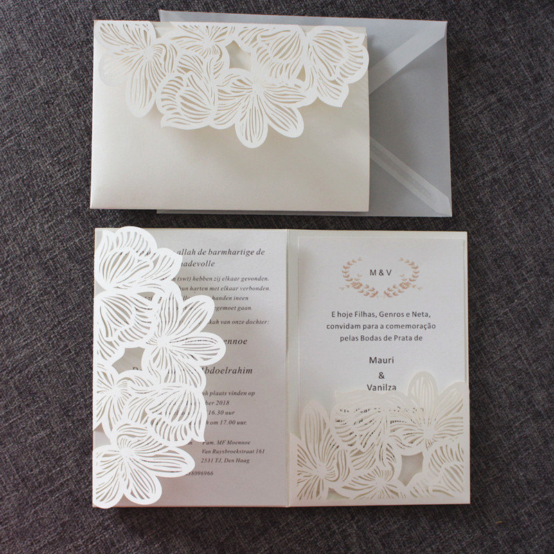 Ivory invitations wedding birthday engagement greeting cards flower laser cut pocket paper invite high quality custom