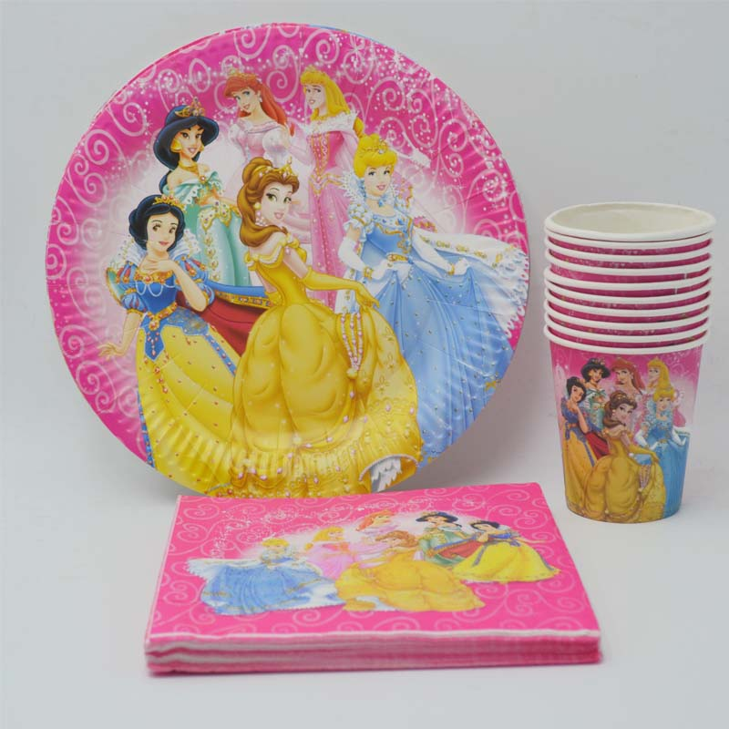 40pc Ariel/Snow White/Belle/Cinderella/Jasmine/Aurora Princess Plate Cup Napkin Birthday Party Supplies Decoration