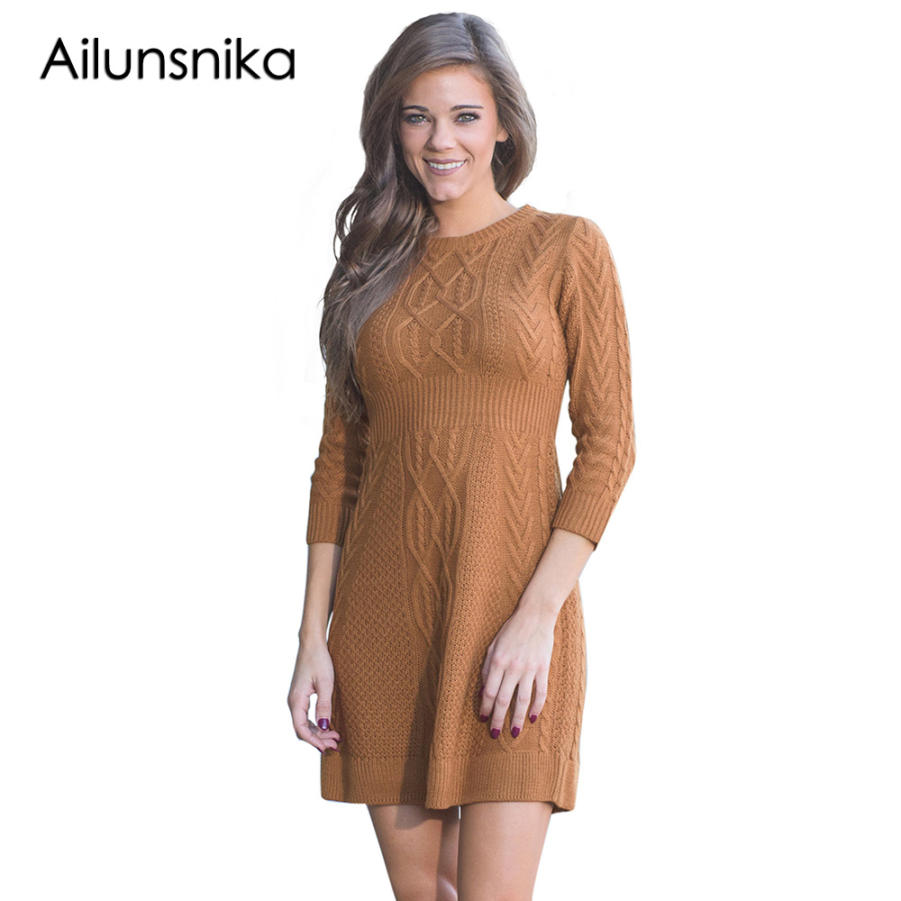 Ailunsnika 2018 Autumn Winter Cable Knit Fitted 3/4 Sleeve Sweater Dress Warm Mini Skater Knitted Dresses Trendy Vestidos knit sleeve flounce mini dress