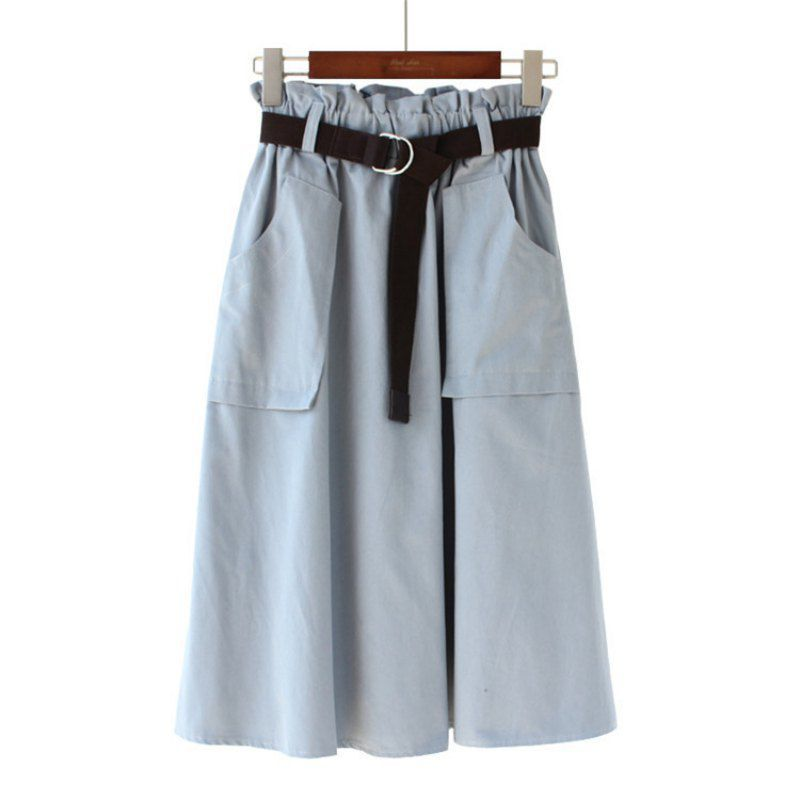 Womens Elegant Empire A Line Skirts With Sashes Female Fashion Solid Mid Calf Skirt Femininas Faldas Mujer 2019 New Arrival in Skirts from Women 39 s Clothing
