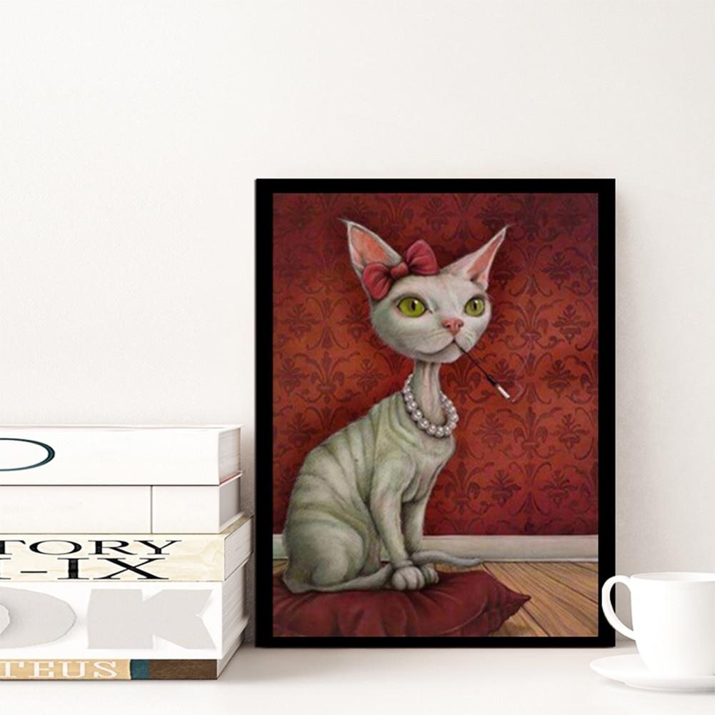 Blanco gato 5d diamante DIY pintura kit patrón del pavo real de la ...