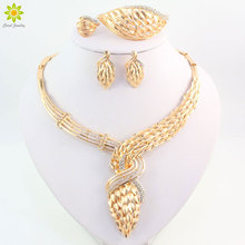 Fine African Gold Color Wedding Jewelry Set New Charms Vintage Crystal Rhinestone Necklace Set Women Costume Jewelry Sets
