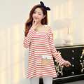 Maternity Spring and Autumn 2016 new Korean fashion striped T-shirt pregnant pregnant shirt pregnant Autumn dresses clothing
