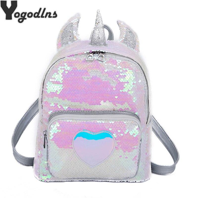 2019 Women Sequins Backpack Cute Unicorn Schoolbag For Teenage Student Girls Satchel Female Mochila De Couro Bagpack School Bag