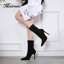 MAIERNISI HOT Woman Shoes Sexy Thin High Heels Party Women Boots Winter Top Quality Female shoes boots Plus Size black original intention super fashion women ankle boots 2017 beautiful thin heels high quality black shoes woman plus us size 4 15
