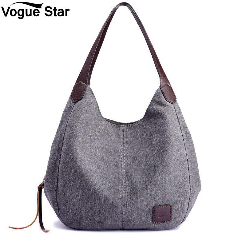 Brand Women's Canvas Handbags High Quality Female Hobos Single Shoulder Bags Vintage Solid Multi-pocket Ladies Totes Bolsas M8