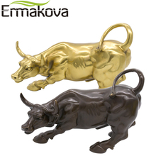 "ERMAKOVA 19cm(7.4"") Brass Wall Street Bull Ox Figurine Charging Stock Market Bull Statue Feng Shui Sculpture Home Office Decor"