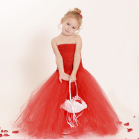 New Design Elegant Baby and Girls Tutu Dresses Full Length Kids Red Ball Gown Holiday Party Dress for Girls Children's Clothes