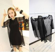 Sexy Black See Through Mesh Short Sleeve Cool Oversize Shirt Cover Tops Blouse
