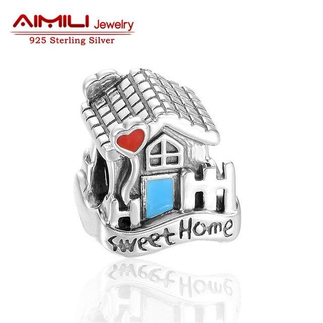 925 sterling silver sweet house grano del esmalte adapta europea famosa marca charm pulseras y collares marca gw joyería d100