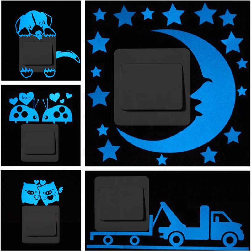 Blue-light Luminous Switch Sticker Home Decor Cartoon Glowing Wall Stickers Dark Glow Decoration Sticker, Cat/Fairy/Moon Stars
