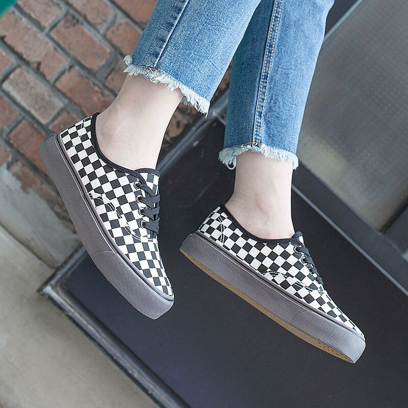 2018 New Rome Style Plaid Canvas Shoes Women Flats Low Top Lace Up - Zapatos de mujer - foto 2