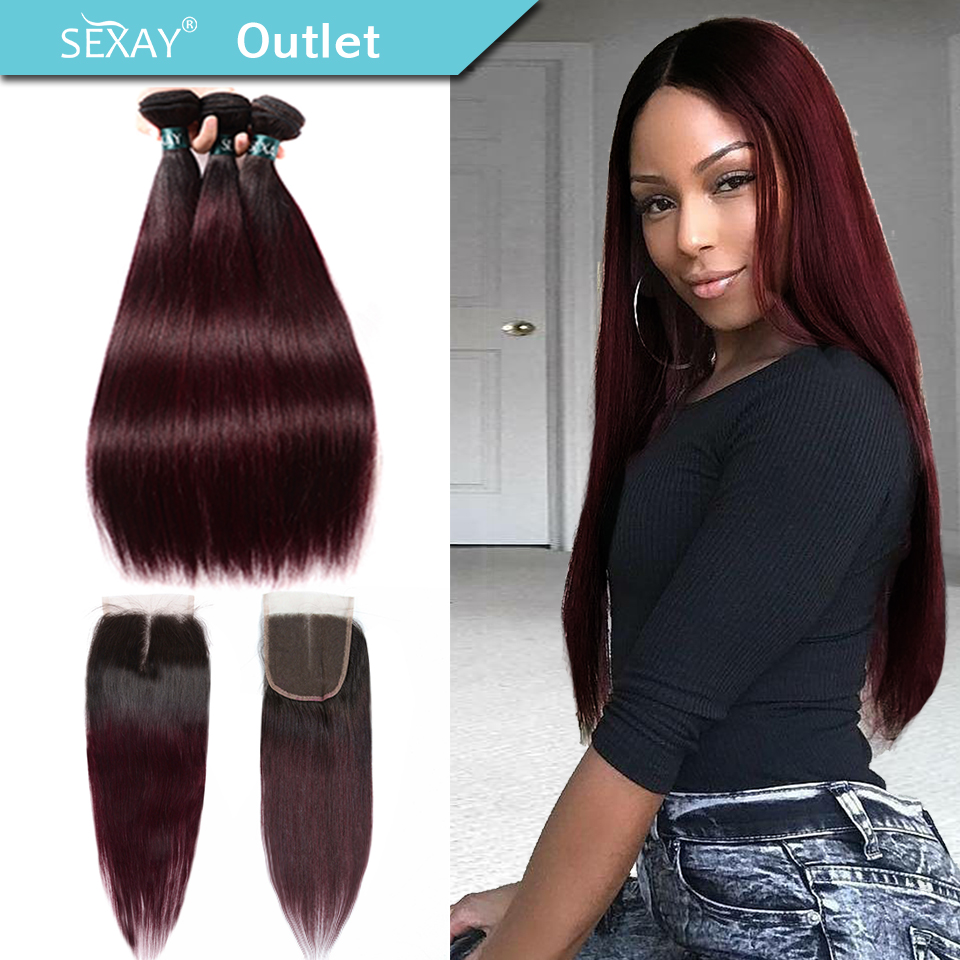 Ombre Hair 3 Bundles With Closure Sexay Professional 1B/99J Burgundy Dark Wine Red 100% Human Hair Brazilian Straight Human Hair